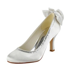 Satin Stiletto Heel Closed Toe Pumps Wedding Shoes With Bowknot Sequin (047020220)