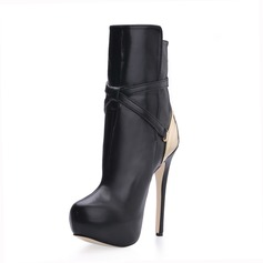 Leatherette Stiletto Heel Platform Ankle Boots With Buckle shoes