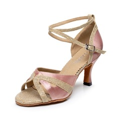 Women's Silk Heels Sandals Latin With Ankle Strap Dance Shoes