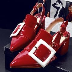 Donna Similpelle Tacco spesso Stiletto Punta chiusa con Fibbia scarpe