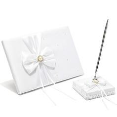 Classique De faux pearl/Bow Livres d'or & Ensemble de crayon