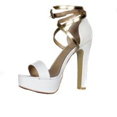 Semsket Stor Hæl Sandaler Platform Titte Tå med Spenne sko