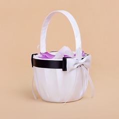 Elegant Flower Basket in Satin With Bow