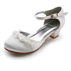 Satin Low Heel Closed Toe Flats Wedding Shoes With Satin Flower (047020911)