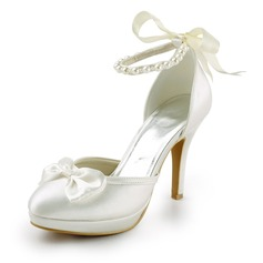 Women's Satin Cone Heel Closed Toe Platform Pumps With Bowknot Imitation Pearl Ribbon Tie