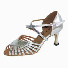 De mujer Cuero Tacones Danza latina con Tira de tobillo Hebilla Zapatos de danza