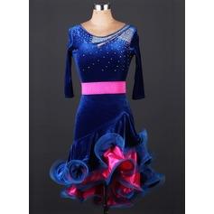 Mulheres Roupa de Dança Veludo Dança Latina Malha