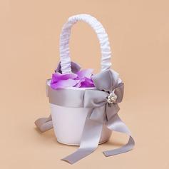 Nizza Flower Basket sisään Satiini jossa Valetaskua helmi/Satiininauhavöitä