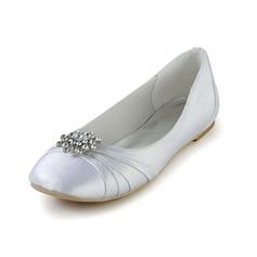 Women's Silk Like Satin Flat Heel Closed Toe Flats With Rhinestone Ruched