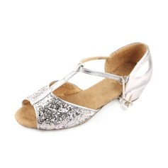Sparkling Glitter Sandals Ballroom Dance Shoes With T-Strap (053008116)