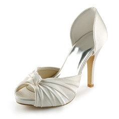 Satin Stiletto Heel Peep Toe Platform Pumps Wedding Shoes With Bowknot (047005429)