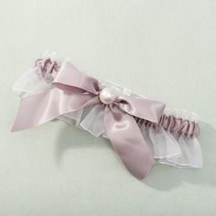 Polyester/Satin with Bowknot/Imitation Pearl Wedding Garter (104019512)