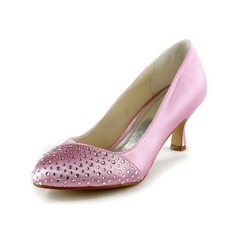 Satin Kitten Heel Closed Toe Pumps Wedding Shoes With Rhinestone (047024527)