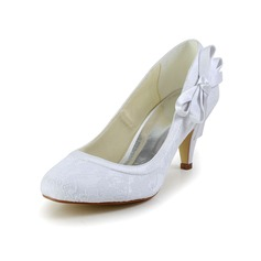 Women's Satin Cone Heel Closed Toe With Bowknot