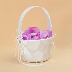 Elegant Flower Basket in Satin With Ribbons