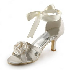 Satin Stiletto Heel Sandals Wedding Shoes With Satin Flower (047005444)