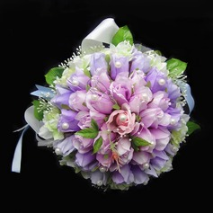 Romantic Hand-tied Satin/Cotton Bridal Bouquets