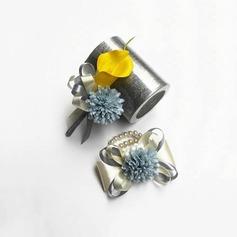 Simples Seda artificiais/Pérola Imitação Conjuntos de flores (conjunto de 2) - Buquê de pulso/Alfinete de lapela