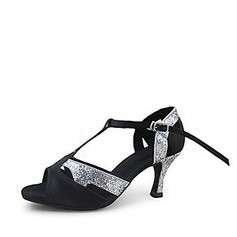 Women's Satin Sparkling Glitter Heels Sandals Latin Ballroom With T-Strap Dance Shoes