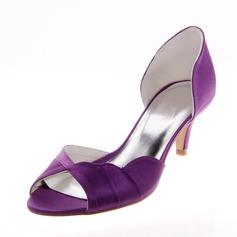 Women's Satin Kitten Heel Peep Toe Pumps Sandals With Ruffles