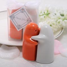 White & Orange Ceramic Salt & Pepper Shakers (Set of 2 pieces)