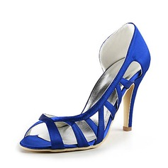 Satin Stiletto Heel Peep Toe Pumps Wedding Shoes With Hollow-out (047016485)