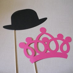 Crown & Hat Card Paper Photo Booth Props (2 Pieces)