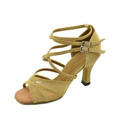 De mujer Cuero Tacones Sandalias Danza latina con Tira de tobillo Zapatos de danza