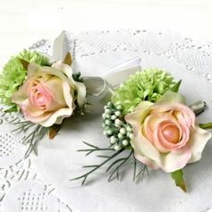 Lindo Seda artificiais Conjuntos de flores (conjunto de 2) - Buquê de pulso/Alfinete de lapela