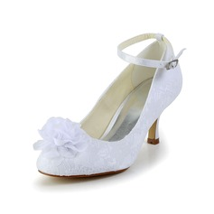 Women's Satin Spool Heel Closed Toe Pumps With Flower