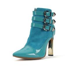 Echtleder Lackleder Stöckel Absatz Absatzschuhe Geschlossene Zehe Stiefelette mit Schnalle Schuhe