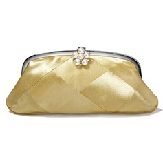 Gold Satin With Imitation Pearl Evening Handbags/ Clutches (012005428)
