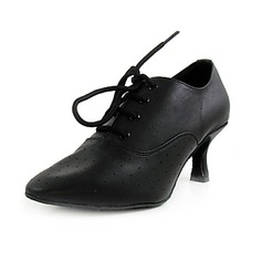 Women's Real Leather Heels Pumps Ballroom Swing Dance Shoes