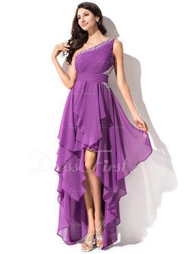 Aライン ワンショルダー 非対称 シフォン ホームカミング用ドレス とともに ラッフル ビーズ スパンコール