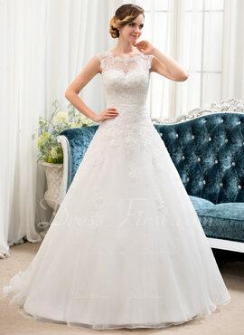 Balklänning/Prinsessa Illusion Sweep släp Organzapåse Tyll Bröllopsklänning med Beading Paljetter
