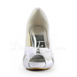 485715746e1b Pour femme Satiné Talon cône Bout ouvert Plateforme Escarpins avec Noeud  papillon Strass (047015271) - Chaussures de mariage - DressFirst