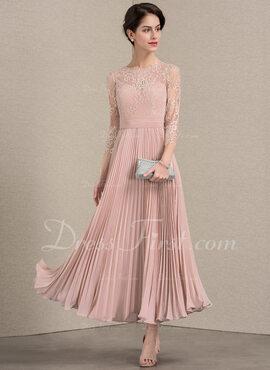 Vestidos princesa/ Formato A Decote redondo Longuete Tecido de seda Renda Vestido de cocktail com Plissada