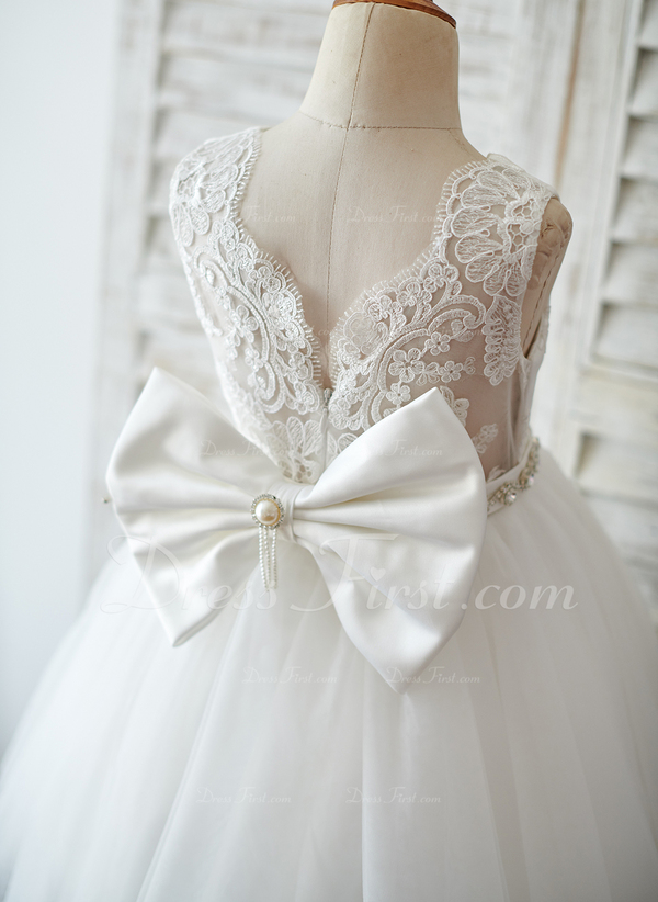 28da8d5602f5d A-Line/Princess Knee-length Flower Girl Dress - Satin/Tulle/Lace ...