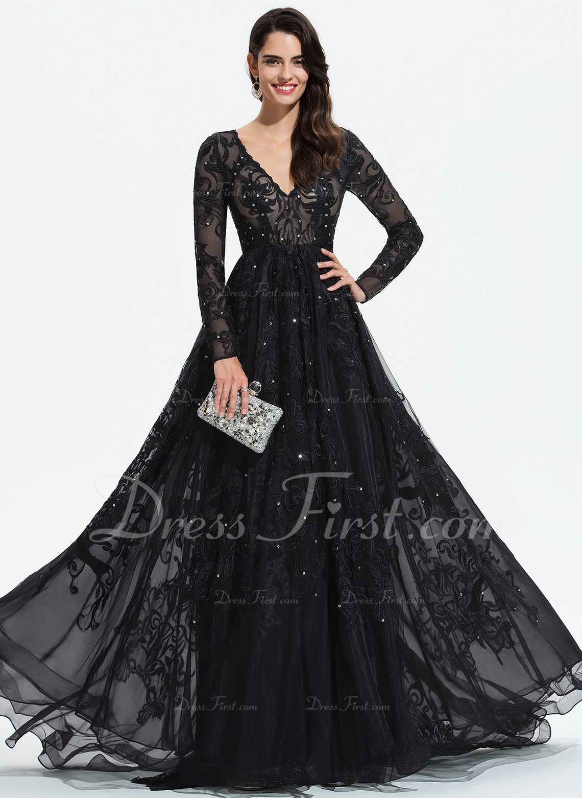 be470268c1b Loading zoom. Loading. Color  Black. Ball-Gown Princess V-neck Sweep Train  Tulle Evening Dress With Lace Sequins ...