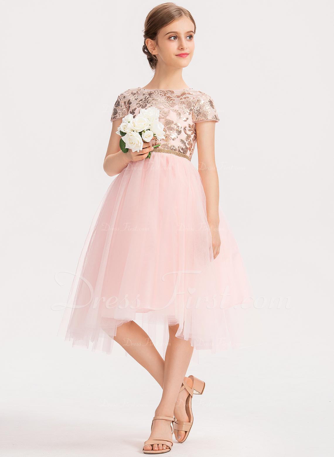 Aライン スクープネック 非対称 チュール ジュニアブライドメイドドレス とともに スパンコール