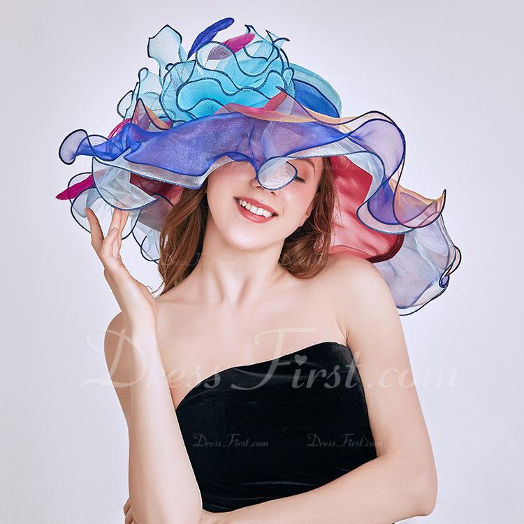 Ladies ' Uroczy/Wzrok/Uroczy Organza Z Kwiaty Plaża / niedz Kapelusze/Kapelusze Kentucky Derby/Czapki Tea Party