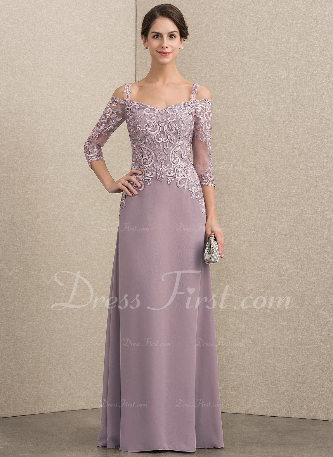 5aad98d265b6 A-Line/Princess Sweetheart Floor-Length Chiffon Lace Mother of the ...