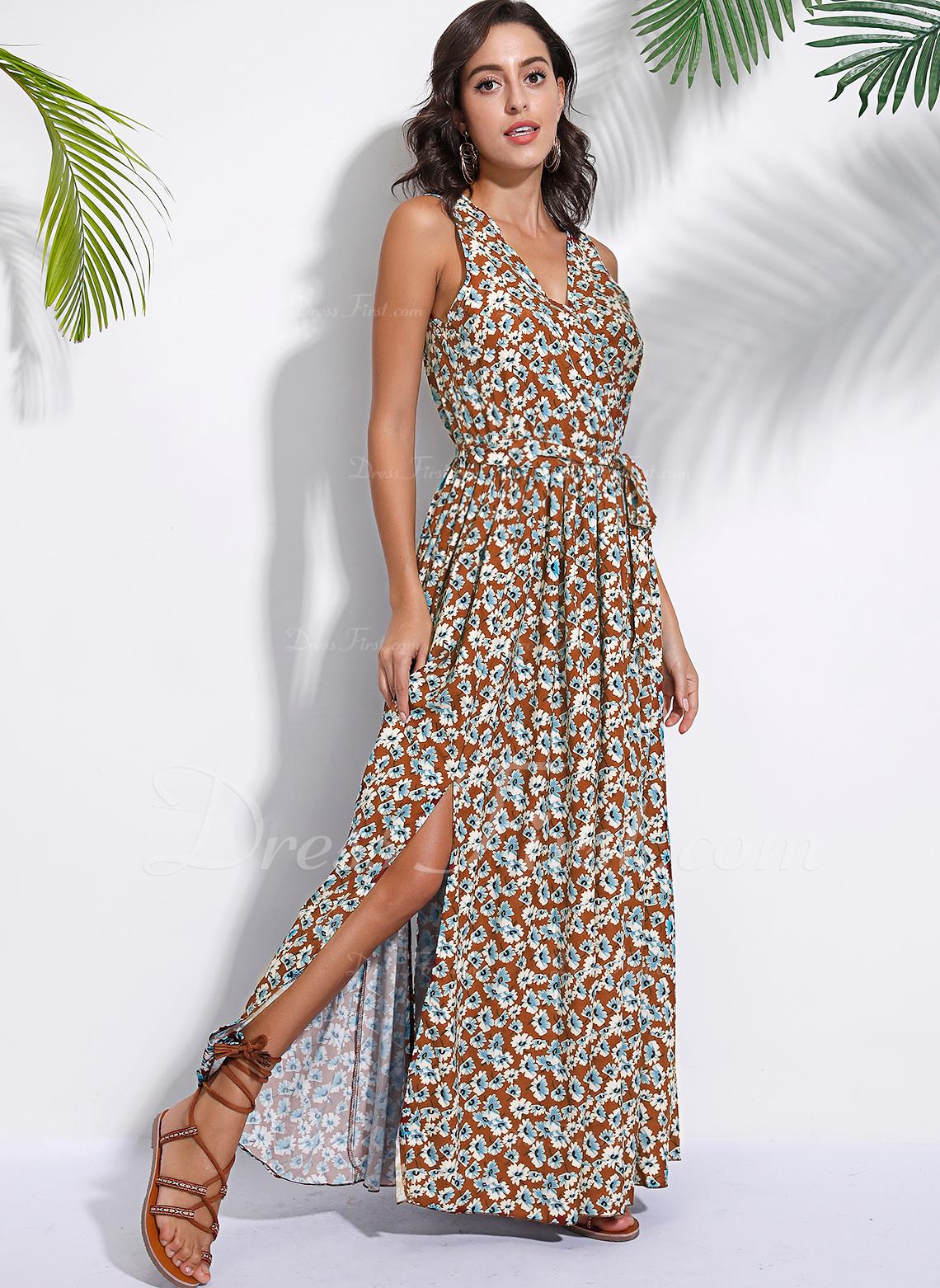 Floral Impresión Vestido línea A Sin mangas Maxi Casual Vacaciones Vestidos de moda