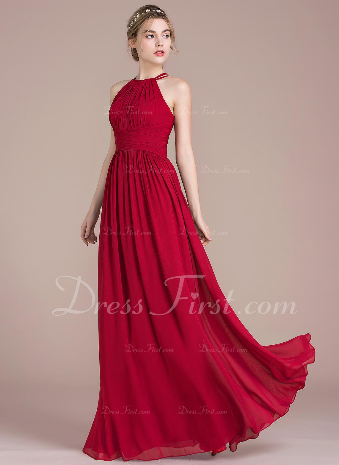 0da52524e5b A-Line Princess Scoop Neck Floor-Length Chiffon Bridesmaid Dress With Ruffle   105587