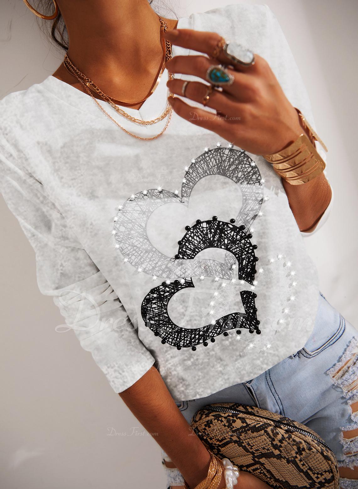 Druck Herz V-Ausschnitt Lange Ärmel Lässige Kleidung T-shirt