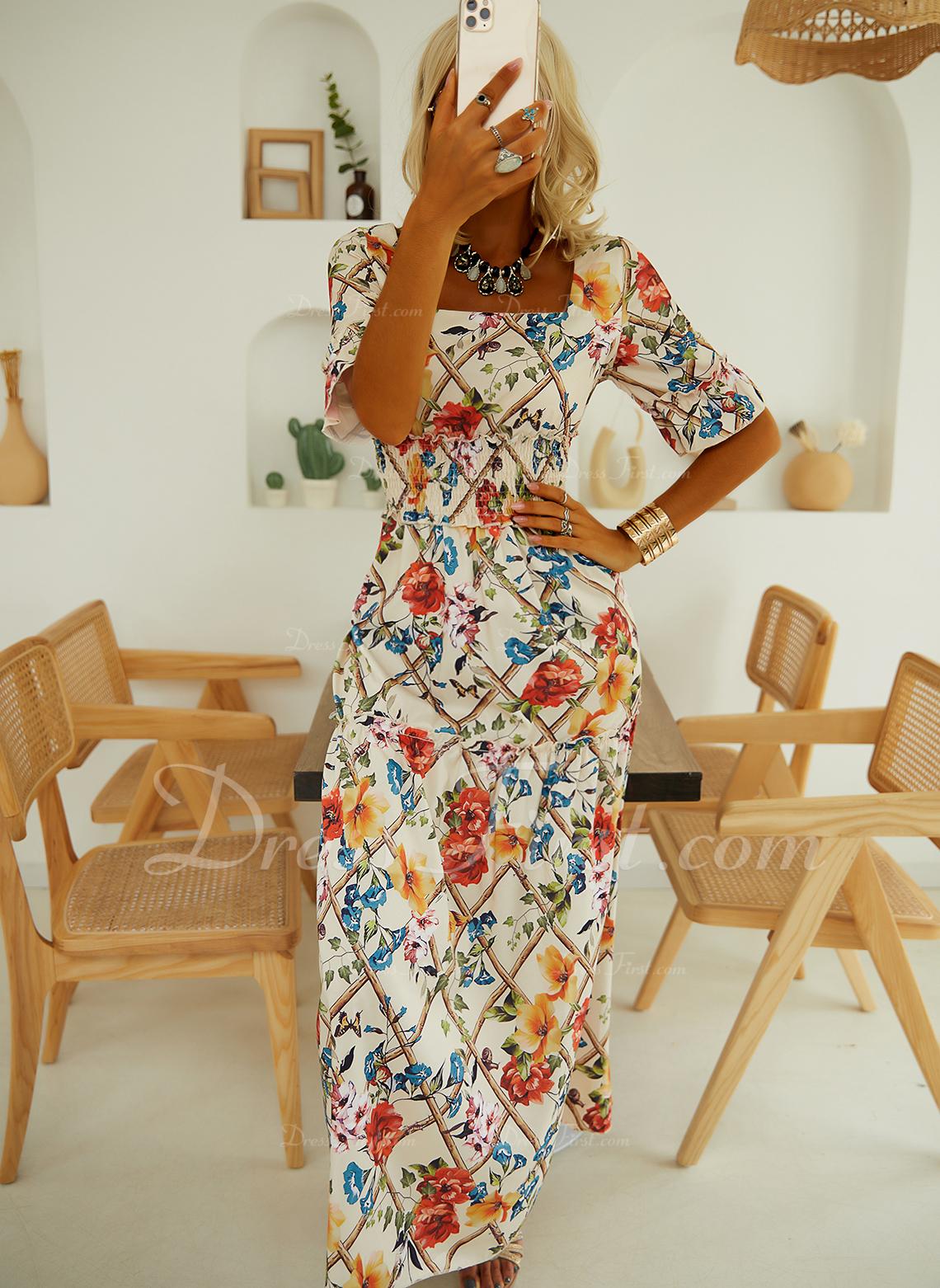 Květiny Tisk Do tvaru A Krátké rukávy Maxi Elegantní Skaterové Módní šaty