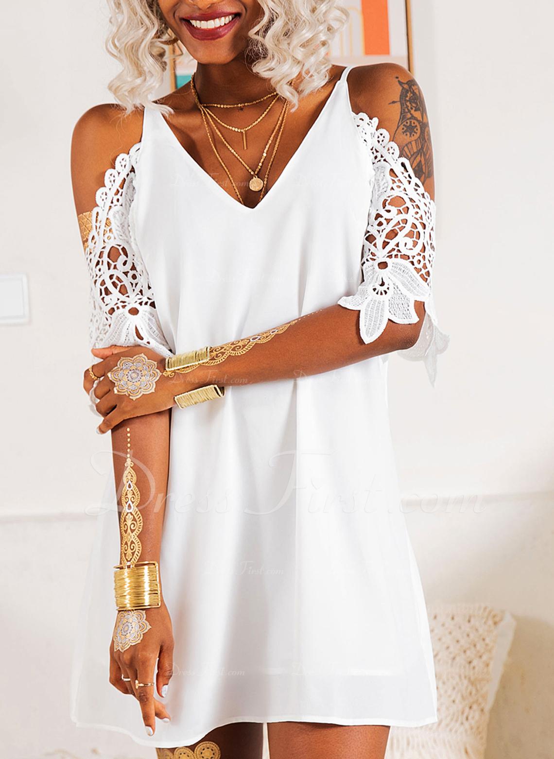 レース 固体 シフトドレス 3/4袖 コールドショルダースリーブ ミニ リトルブラックドレス パーティー エレガント チュニック ファッションドレス