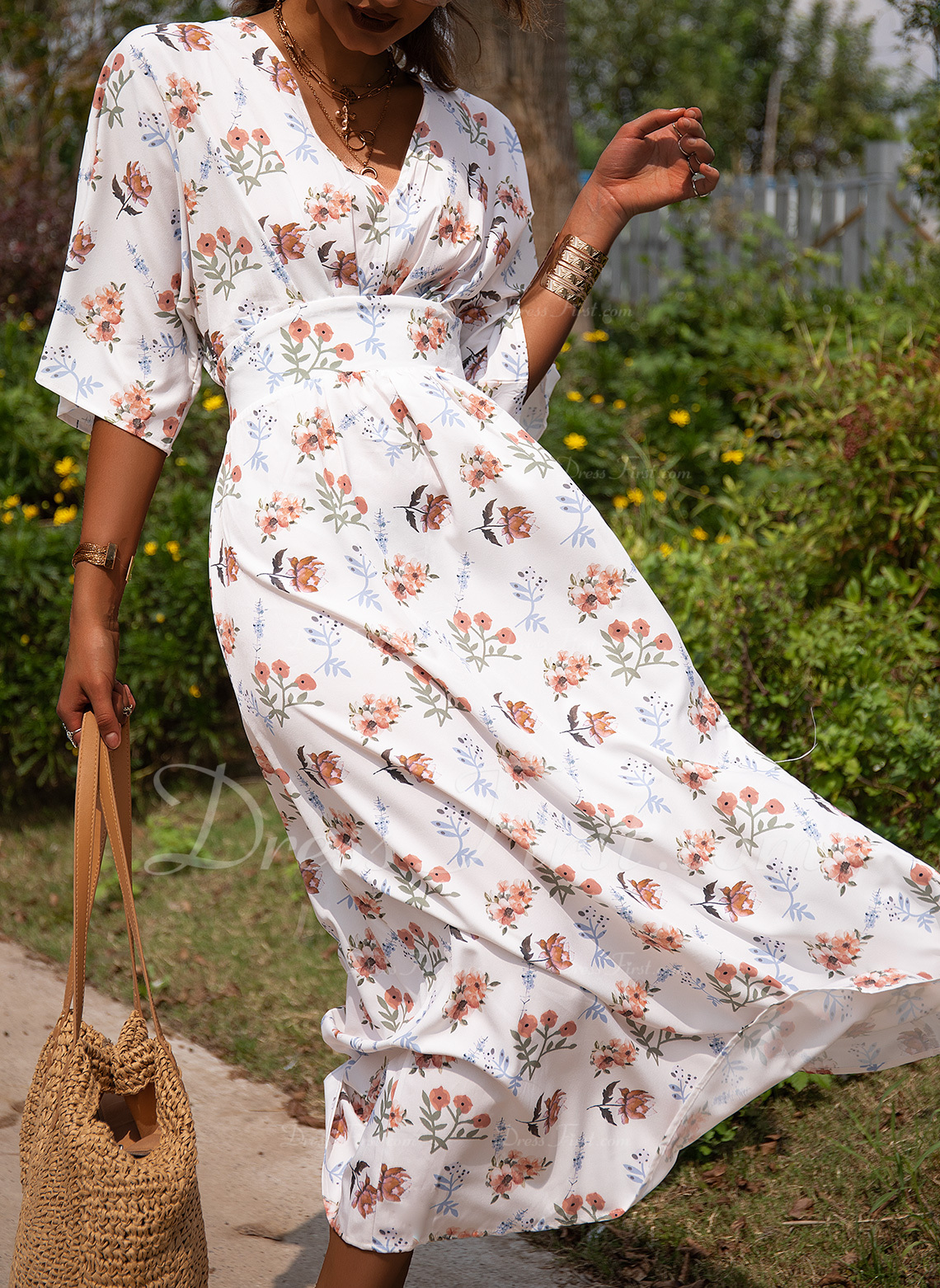 Floral Print A-line 1/2 Sleeves Batwing Sleeves Maxi Casual Vacation Skater Dresses