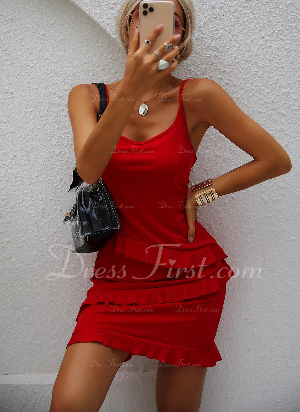 Solido A trapezio Senza maniche Mini Piccolo nero Casuale Vacanza Tipo Vestiti di moda