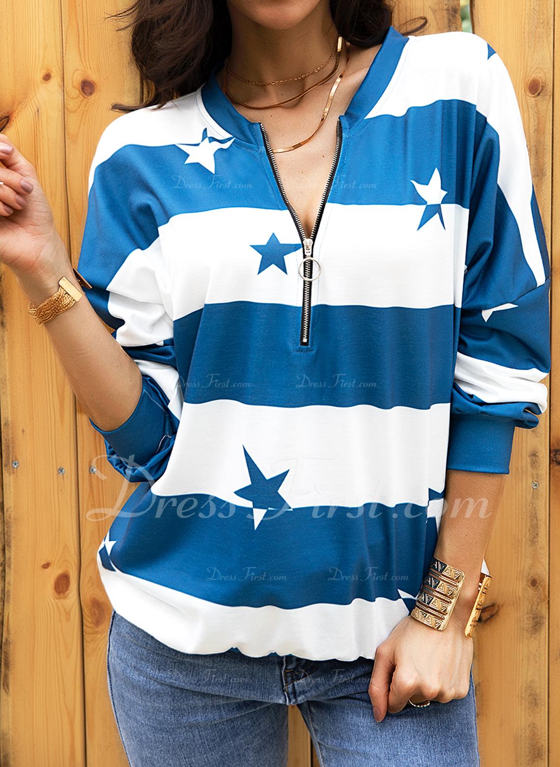 Print Striped V-Neck Long Sleeves Sweatshirt